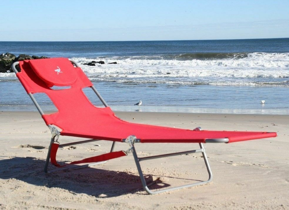 folding outdoor lounge chair hello kitty table and chairs red beach chaise portable light weight garden patio tanning new! | ebay