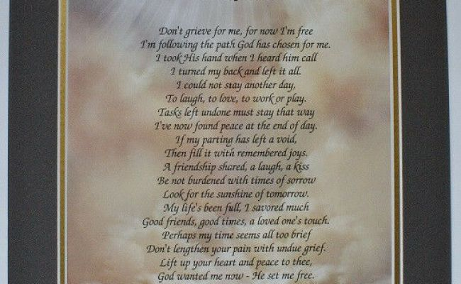 I M Free Personalized Bereavement Poem Gifts For Lost