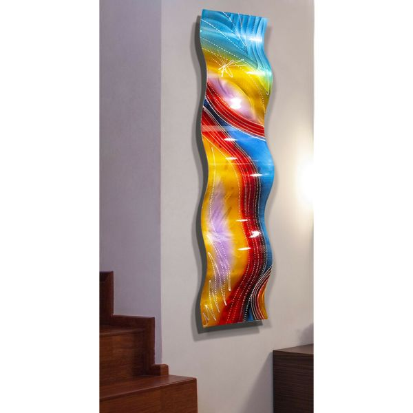 Metal Wall Art Sculpture Colorful Red Blue Purple 3d
