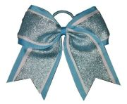 """shimmer blue"" cheer bow pony"