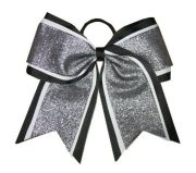 """shimmer black"" cheer bow pony"