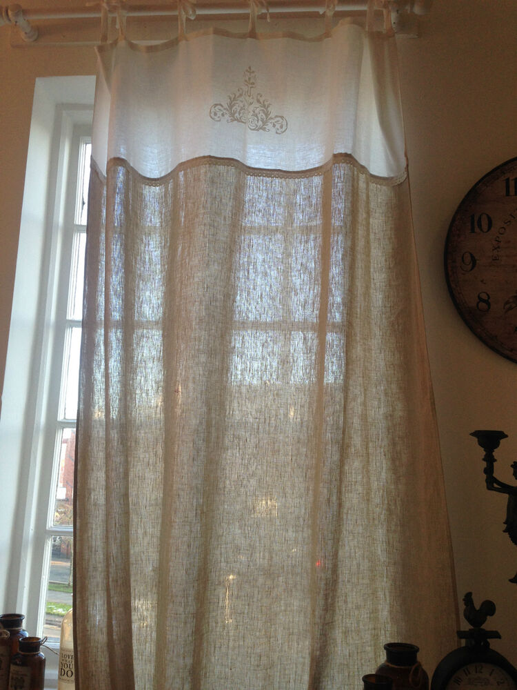 EXQUISITE EXTRA LONG CURTAIN PANEL 100 LINEN 101 x 58 WITH WHITE LACE DETAIL  eBay