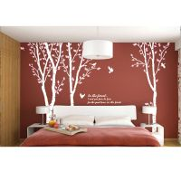 White Tree Wall Decals Birch Trees Birds Wall Stickers ...