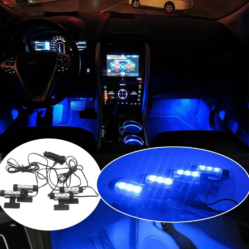 4x 3LED Car Charge Interior Accessories Floor Decorative