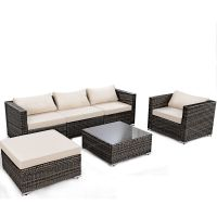 6PC Furniture Set Aluminum Patio Sofa PE Gray Rattan Couch ...
