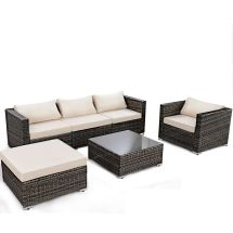 6pc Furniture Set Patio Sofa Pe Gray Rattan Couch Black