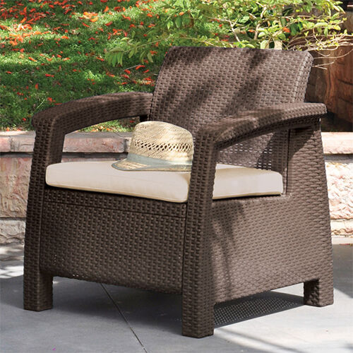 Modern Sofa Chair w Cushion Outdoor Seating Resin Wicker