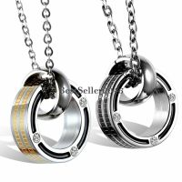His and Hers Stainless Steel Promise Rings Couple Pendant ...