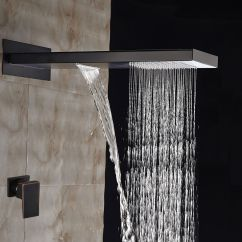 Kitchen Faucets With Sprayer Cabinet Stores Near Me Large Oil Rubbed Bronze Waterfall Rain Shower Head ...