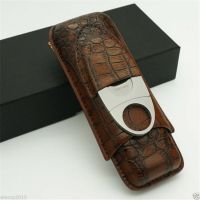 COHIBA Brown Leather Crocodile Pattern 2 Tube Cigar Holder