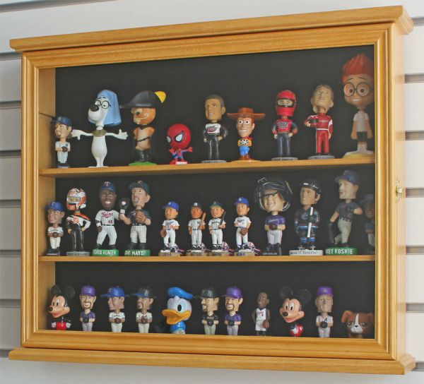Display Case Wall Cabinet Shadow Box Mini Bobble Heads Wobblers Nodders Sc04