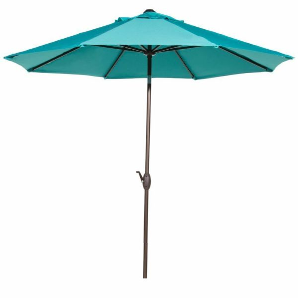 9 Ft Outdoor Patio Market Table Umbrella With Auto Tilt