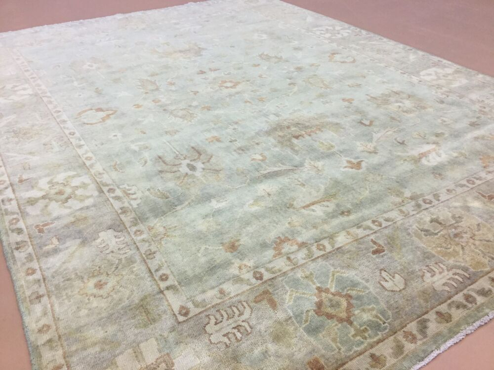 9 X 12 Muted Green Beige Oushak Persian Oriental Area Rug Geometric Hand Knotted  eBay