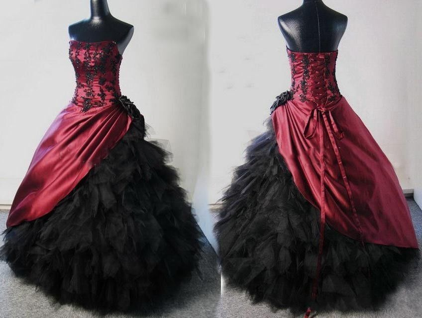 New Burgundy Black Ball Gown Victorian Wedding Prom Dress