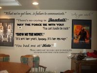 Movie Quotes wall lettering decals for theater room art