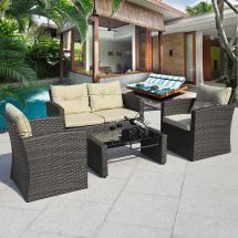 4pcs Gradient Brown Wicker Cushioned Patio Set Garden Sofa