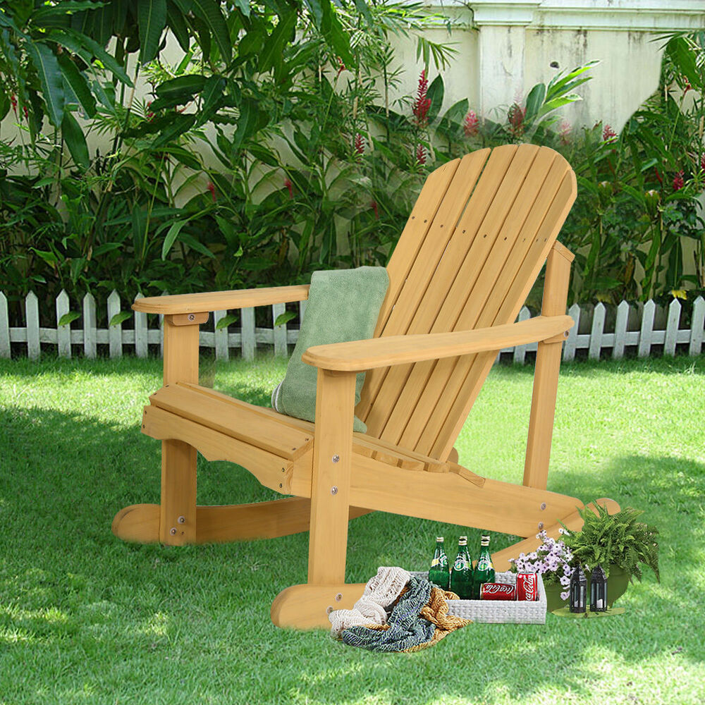 patio recliner lounge chair blue outdoor natural fir wood adirondack rocking deck garden furniture | ebay