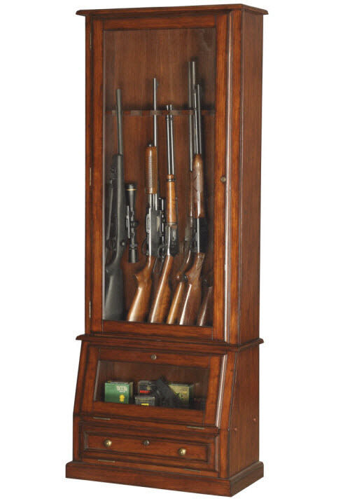 Locking Gun Cabinet Wood Display Solid Tempered Glass