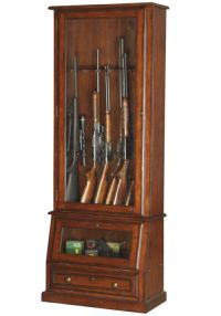 Locking Gun Cabinet Wood Display Solid Tempered Glass ...