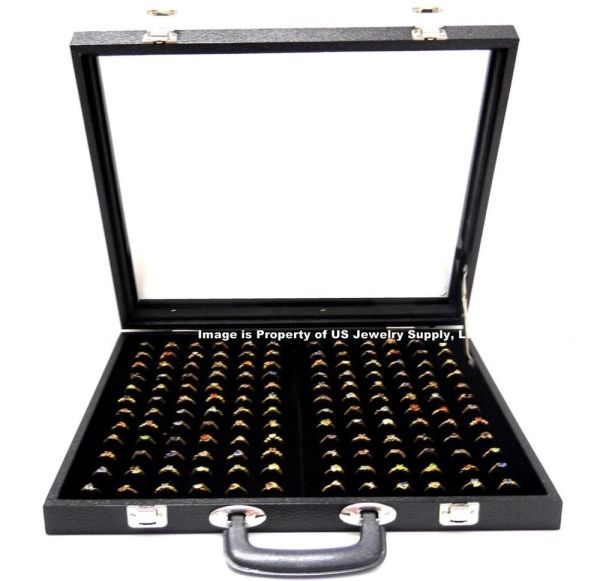 X-large 144 Ring Black Glass Top With Handle Portable Display Storage Case