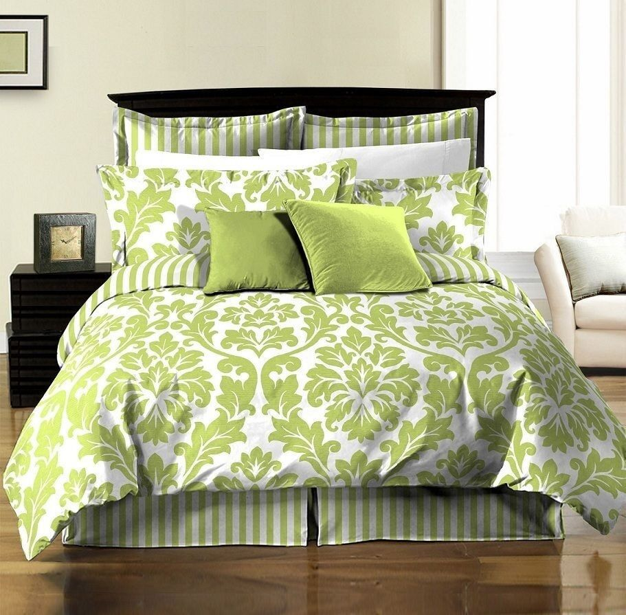 8pcs White Green Printed Damask Stripe Reversible Duvet