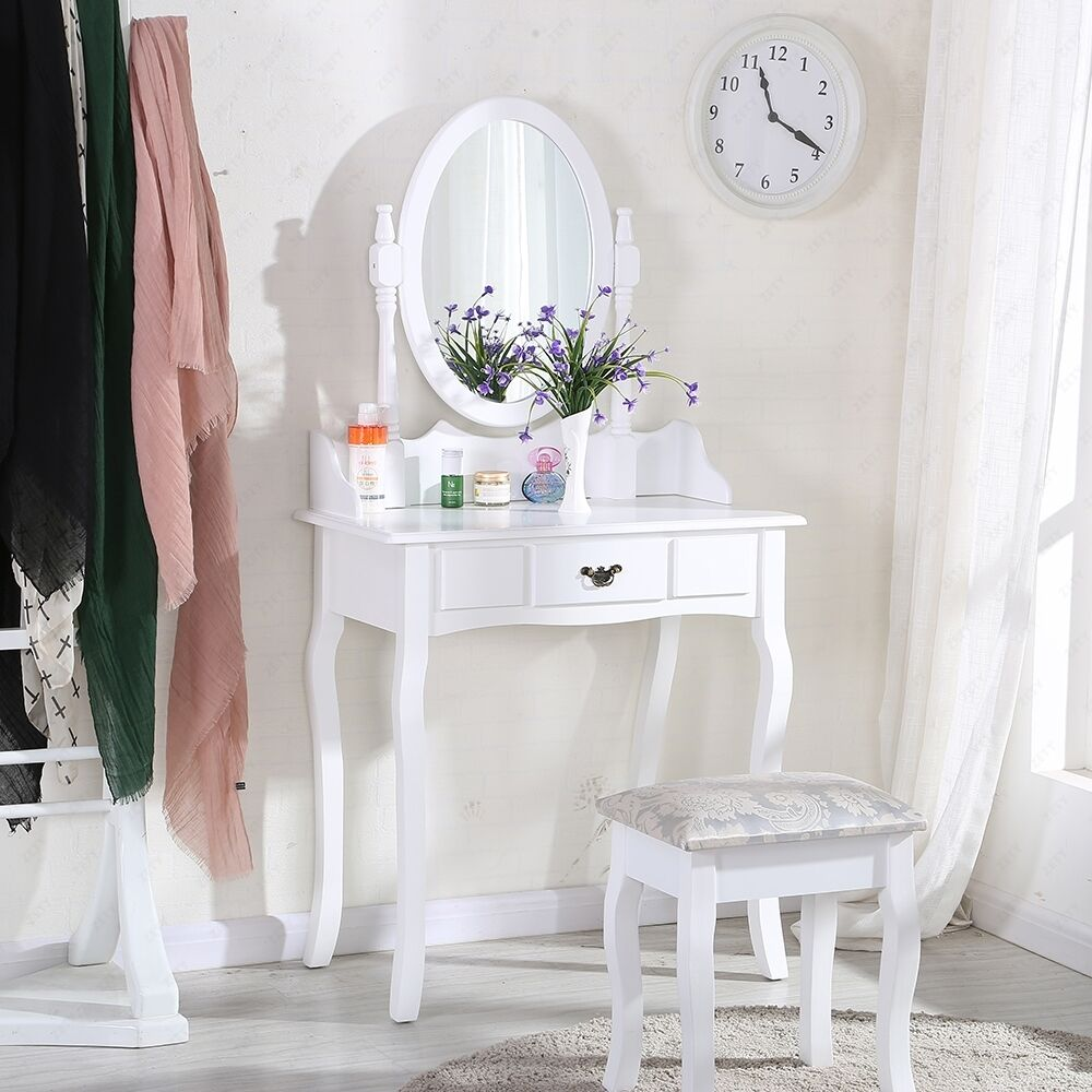 makeup desk chair plastic kid chairs white dressing table sets with stool and oval mirror bedroom | ebay