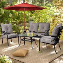 4 Pcs Patio Furniture Sofa Set Tea Table&chairs Outdoor