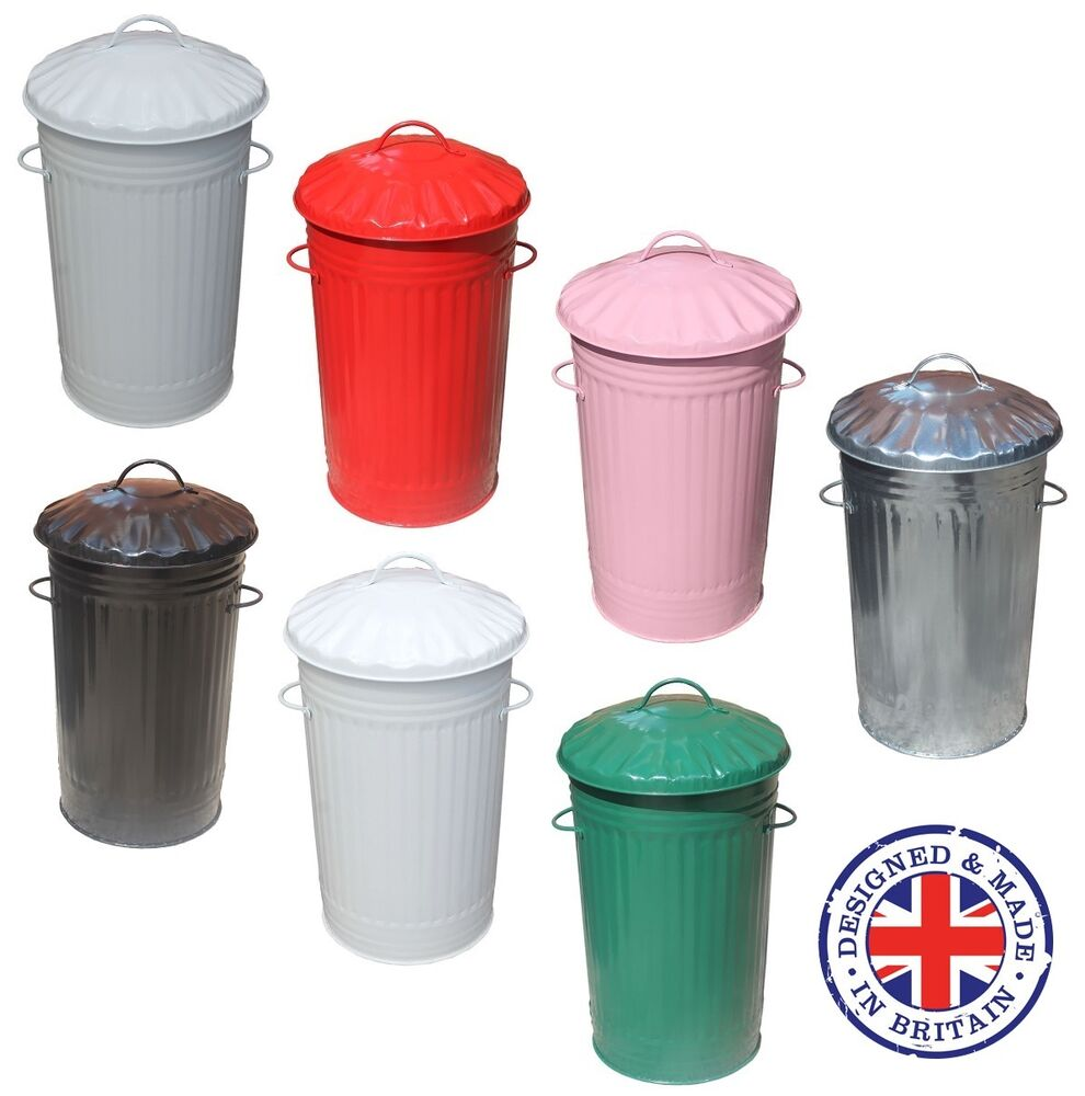 46L Litre Galvanised Metal Kitchen Bin Tall Slim Rubbish
