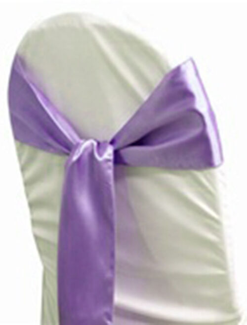 chair cover decorations for wedding coleman outdoor chairs 100 lavender satin sash bows sashes tie party | ebay