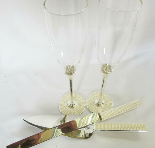Wedding Crystaltoasting Glasses &cake Knife Server