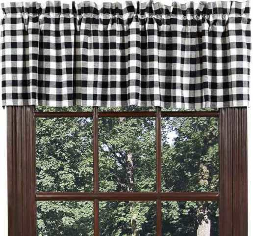 BUFFALO BLACK CHECK Valance Cotton Country Rustic Gingham Plaid VHC Brands EBay