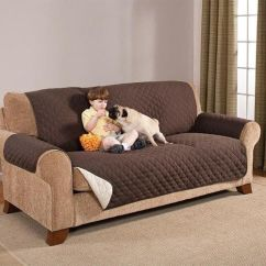 Brown And Beige Corner Sofa Modern Wooden Legs Reversible Furniture Protector Quilted Slipcover ...