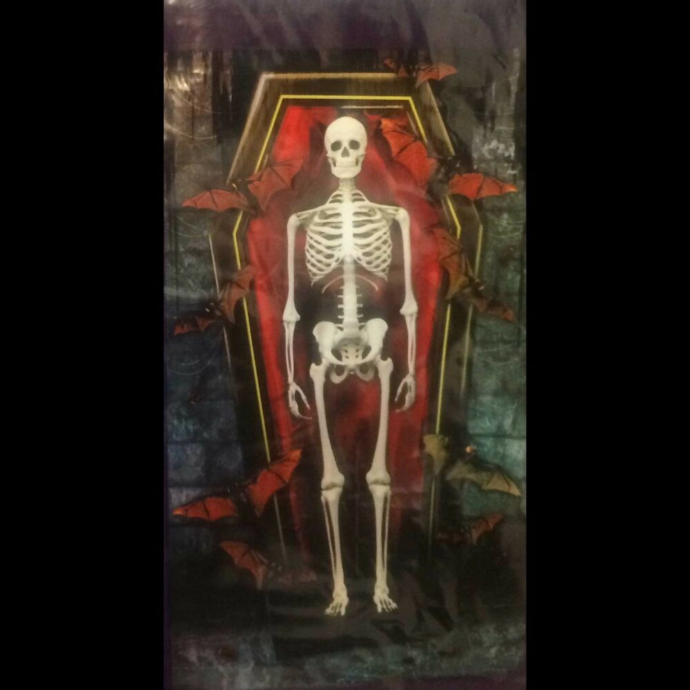 Gothic SKELETON COFFIN WALL MURAL Door Cover Haunted House