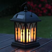 SOLAR POWERED OUTDOOR GARDEN FLICKERING CANDLE HOLDER LED ...