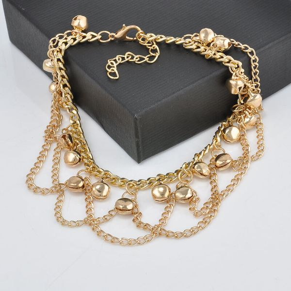 Unique Women 14k Gold Filled Two-layer Charm Bell Chain Anklet & Bracelet