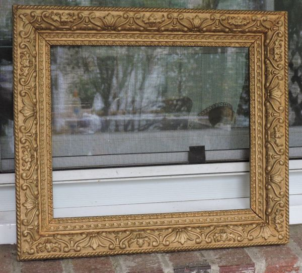 Vintage Victorian Style Gold Flowers Gesso Compo Frame 10 X 12 C1940s
