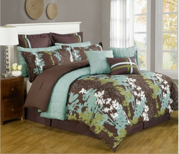 Pc Teal Green Brown & White Floral Print Comforter