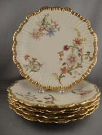 Rare Antique Royal Worcester Set of 6 Hand Painted ...