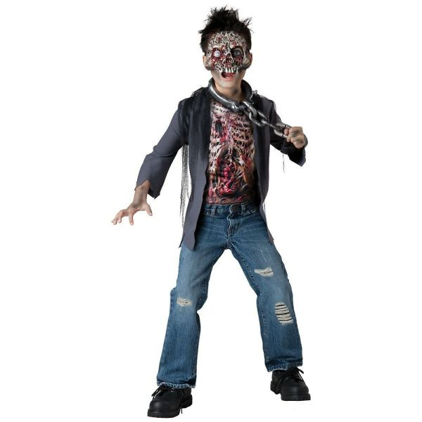 Zombie Costume Kids Scary Skeleton Monster Halloween Fancy