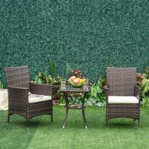 Outsunny 3pc Rattan Furniture Bistro Set Garden Chair