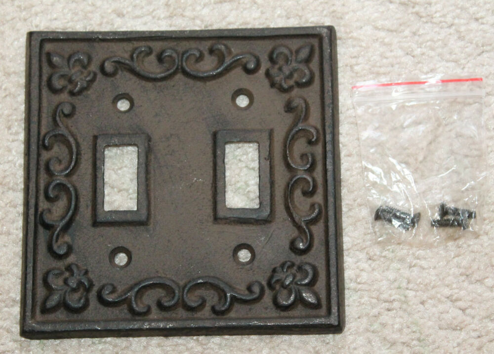 Heavy Cast Iron Light Switch Plate Cover Antique Finish
