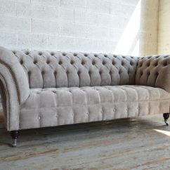 Purple Tufted Sofa Set Black And Red Pillows Chesterfield Style Fabric Bernadette Grey Clic ...