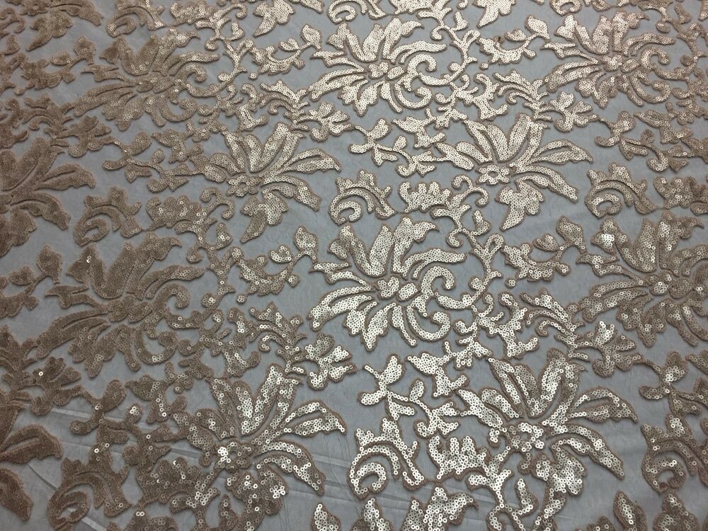 Beyonce Floral Apparel Sequence Lace Fabric Beige By The Yard 56 EBay