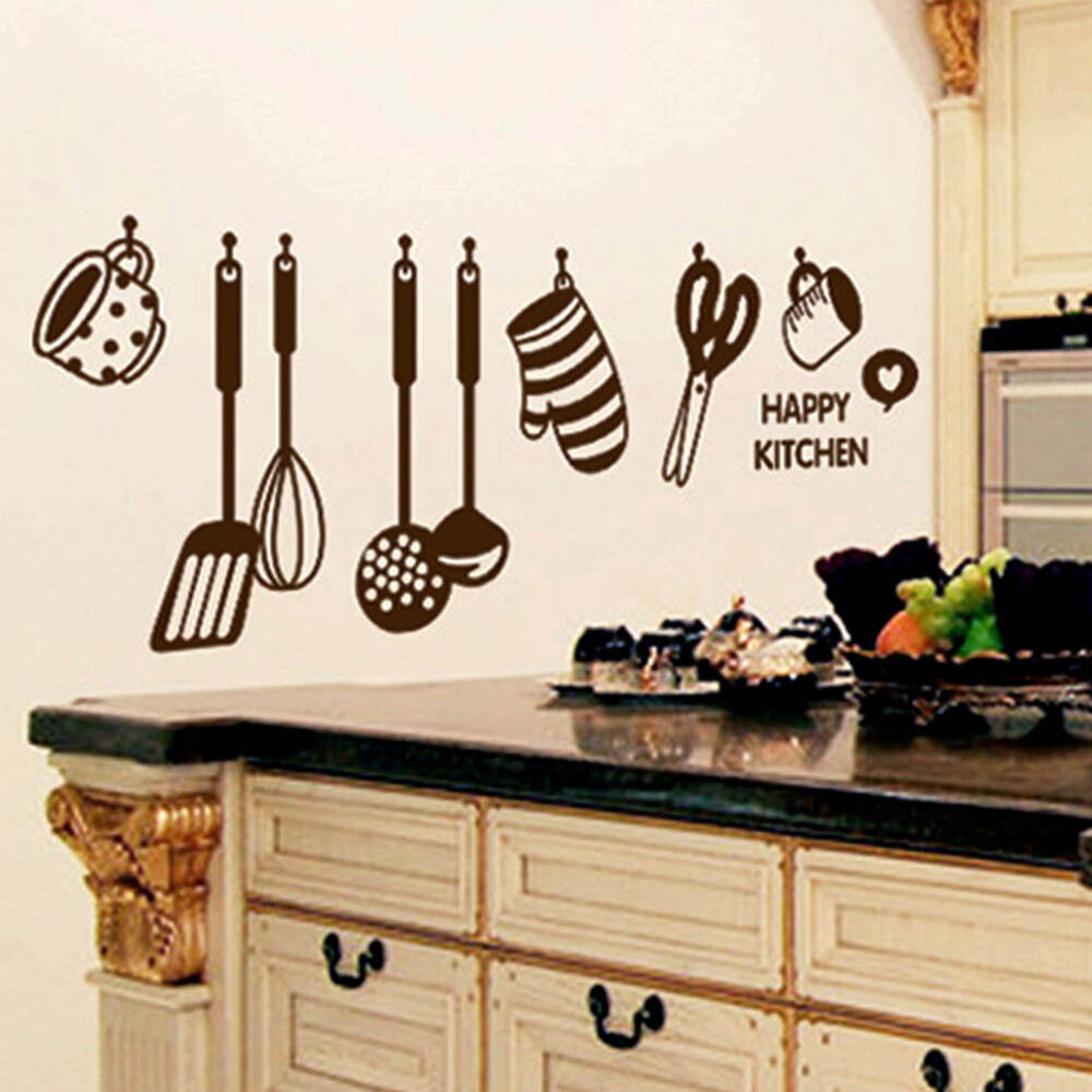 New Removable Happy Kitchen PVC Mural Decal Wall Stickers