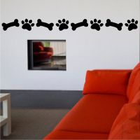 Dog Paw Print And Bone Decal Dog Removable Wall Sticker