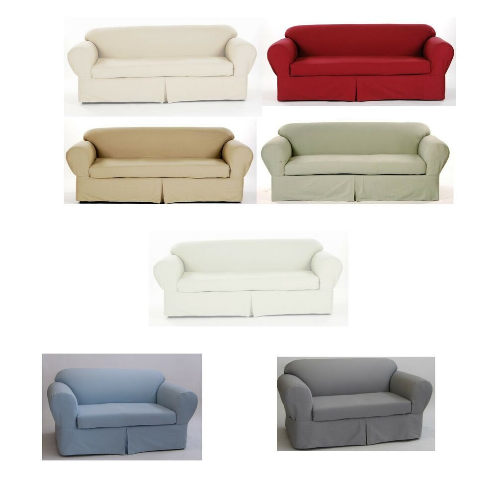 two cushion sofa slipcover leather sleepers all cotton brushed twill 2-piece couch ...