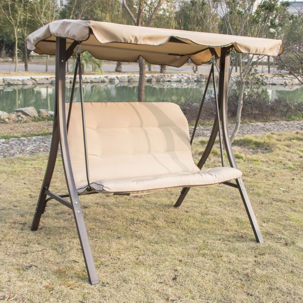 Outdoor Patio Glider Swing with Canopy