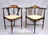 Pair Antique Victorian Corner Chairs Arm Chairs English | eBay