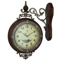 Metal wood European-style double-sided wall clock Retro ...