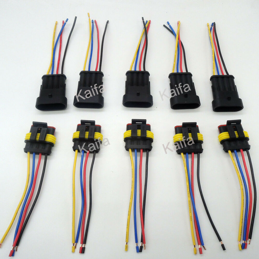 5 Sets 4 Pin Car Waterproof Electrical Connector Plug With